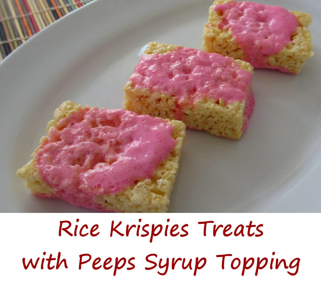 Rice Krispies Treats with Peeps Syrup Topping