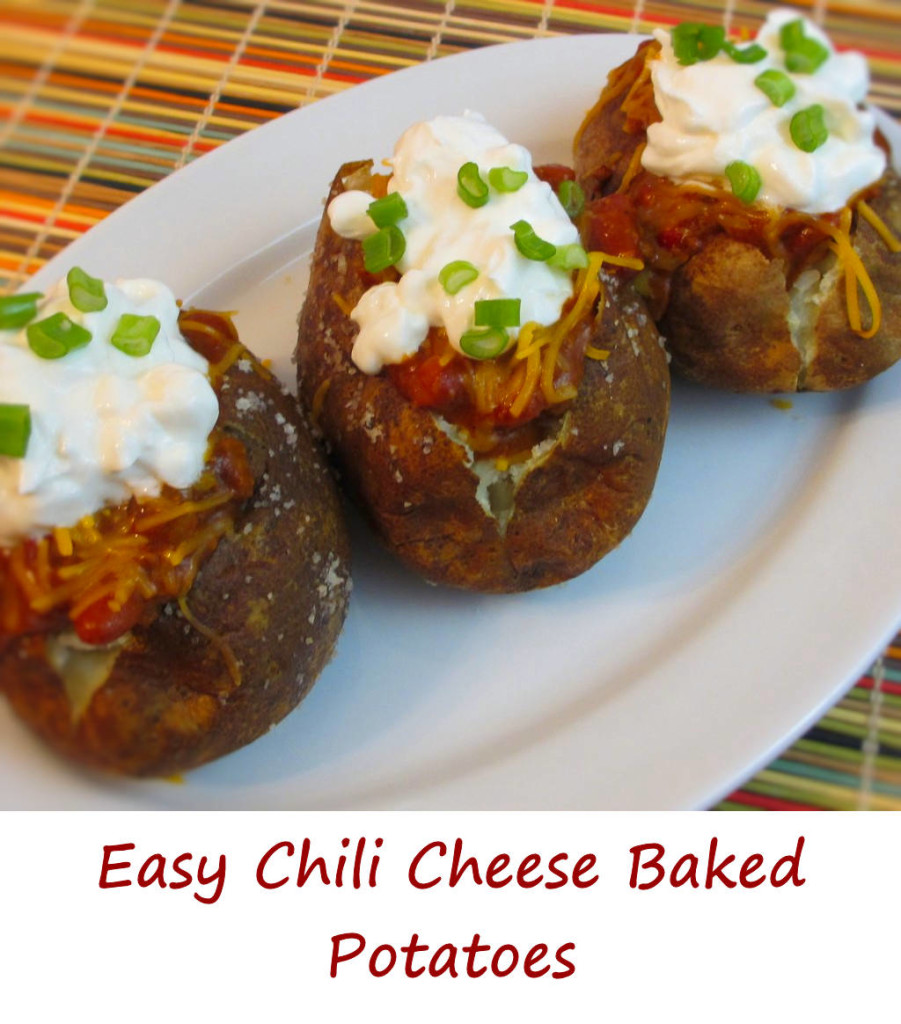 Easy Chili Cheese Baked Potatoes