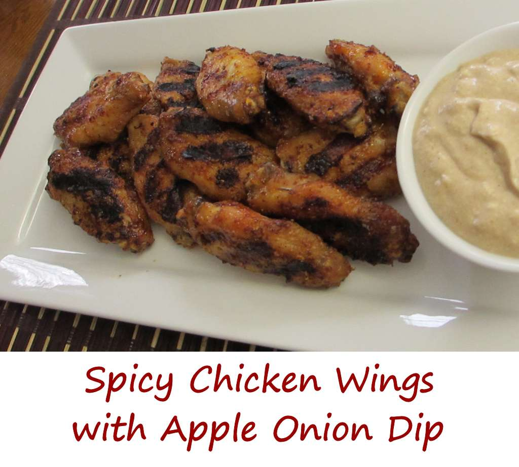 These spicy chicken wings with apple onion dip have a wonderful savory ...