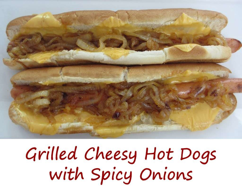 Grilled Cheesy Hot Dogs with Spicy Onions