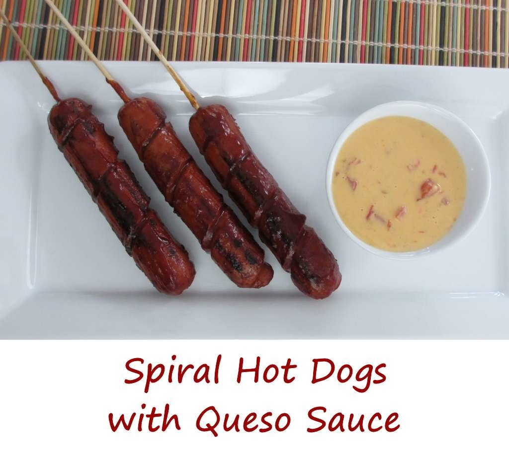 Spiral Hot Dogs with Queso Sauce