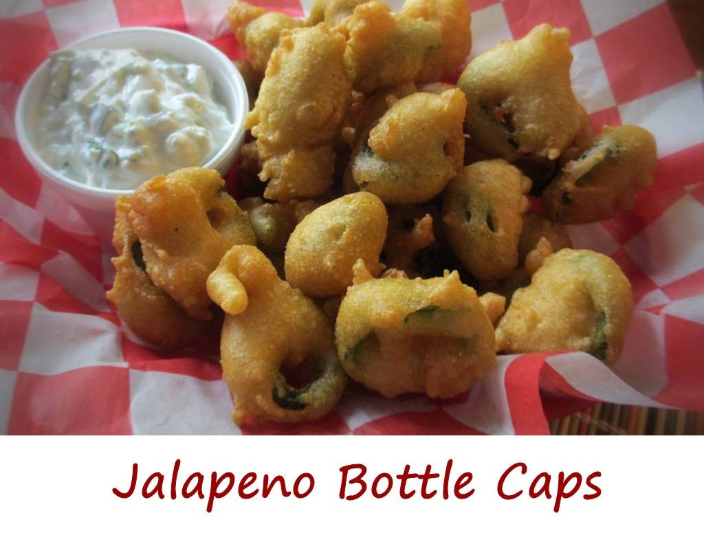 Jalapeno Bottle Caps with Blue Cheese Dip
