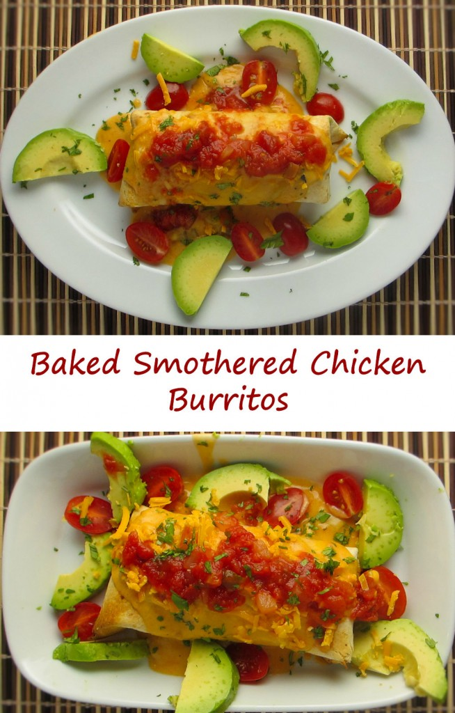 Baked Smothered Chicken Burritos