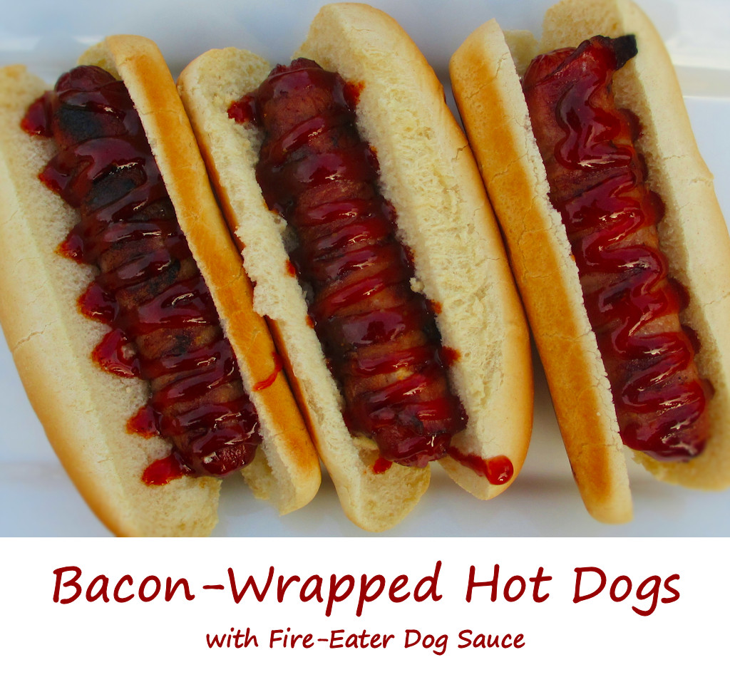 Bacon-Wrapped Hot Dogs with Fire-Eater Dog Sauce
