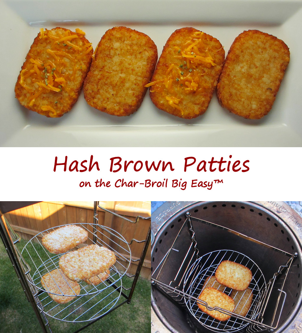 Hash Brown Patties on the Char-Broil Big Easy