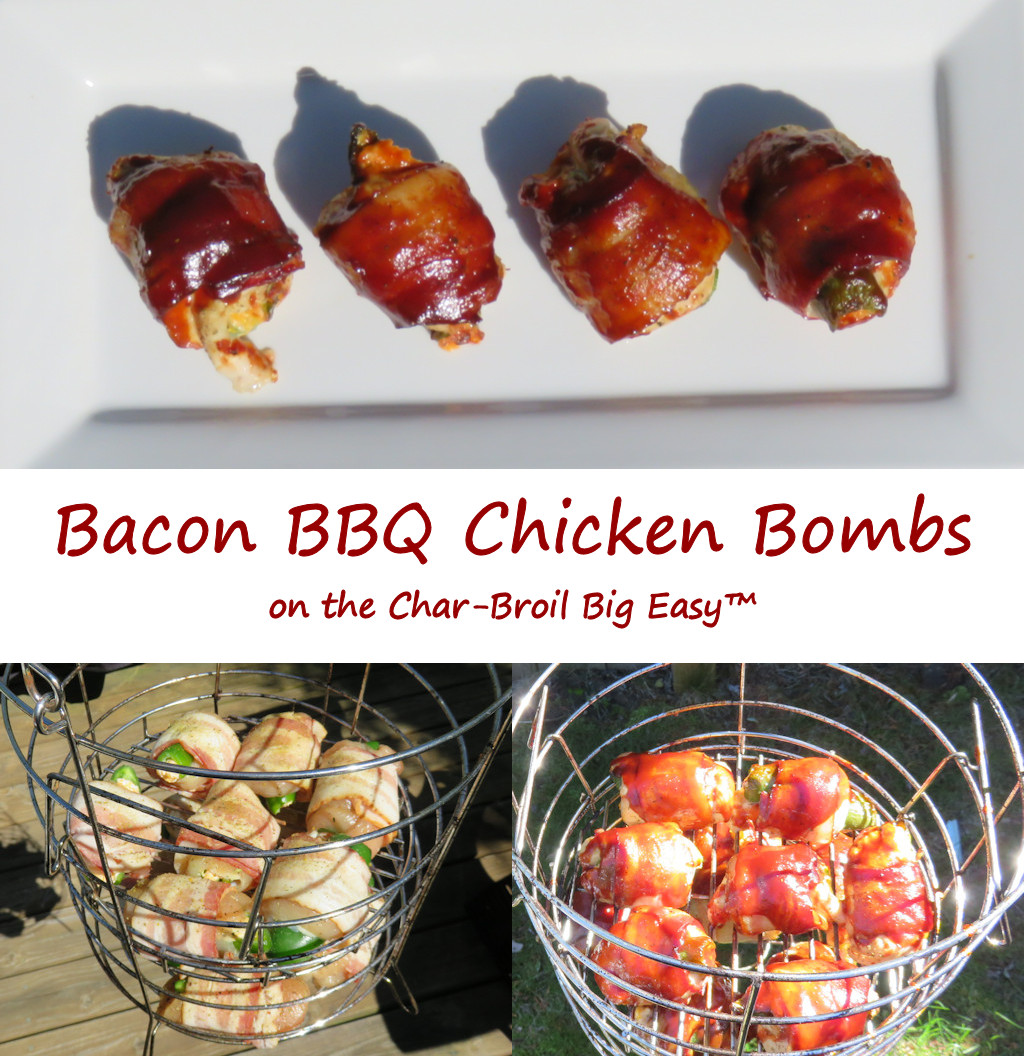 Bacon BBQ Chicken Bombs on the Char-Broil Big Easy