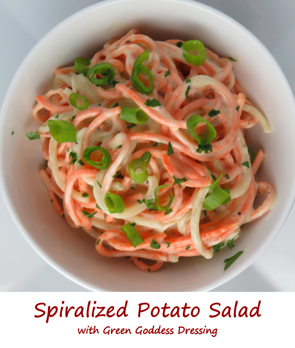 Spiralized Potato Salad with Green Goddess Dressing