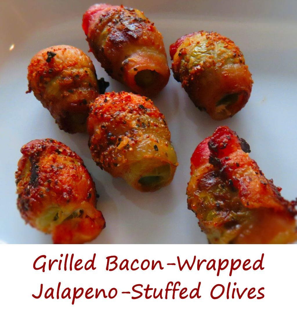 Grilled Bacon-Wrapped Jalapeno-Stuffed Olives