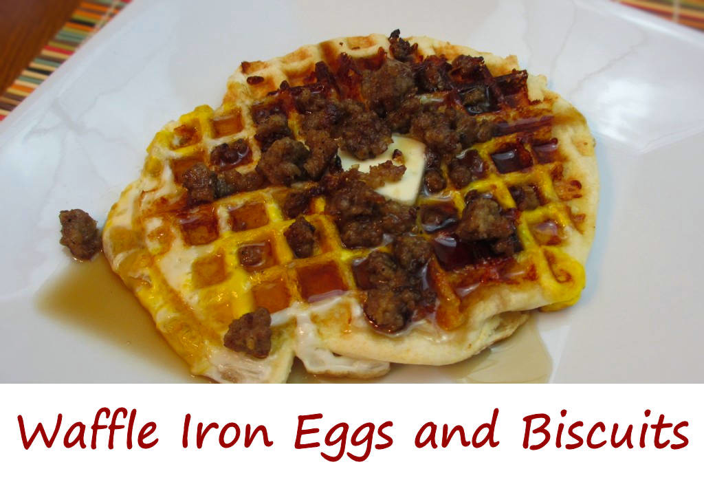 Waffle Iron Eggs and Biscuits