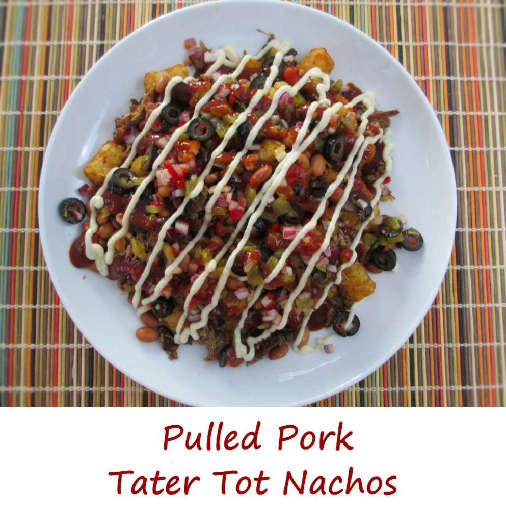 Pulled Pork Tater Tot Nachos with Smoked Provolone Cheese Sauce