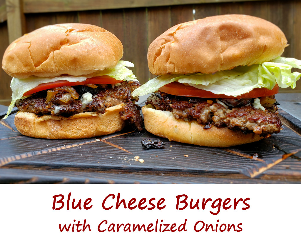 Blue Cheese Burgers with Caramelized Onions